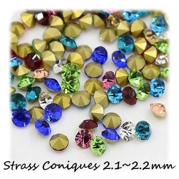 Swarovski rhinestones, rhinestone diamond, multicolored Rhinestones, rhinestone 2.1 mm, rhinestone bottom tapered, paste Rhinestones, rhinestone crimp findings Dollydoo