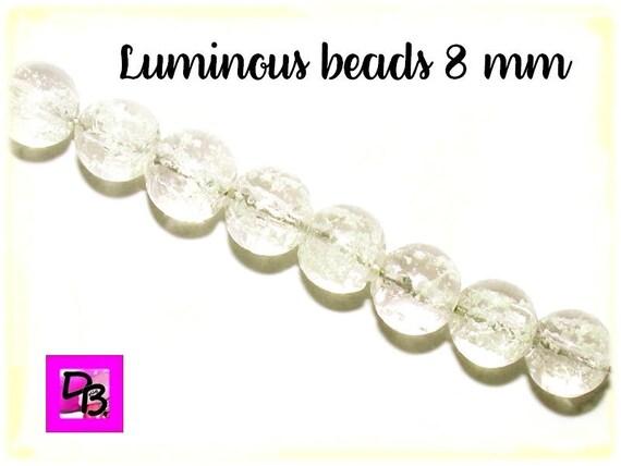 10 perles Luminous [FloralWhite] 8mm