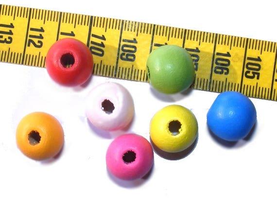 7 Perles de Bois Rondes 13mm Mix Color