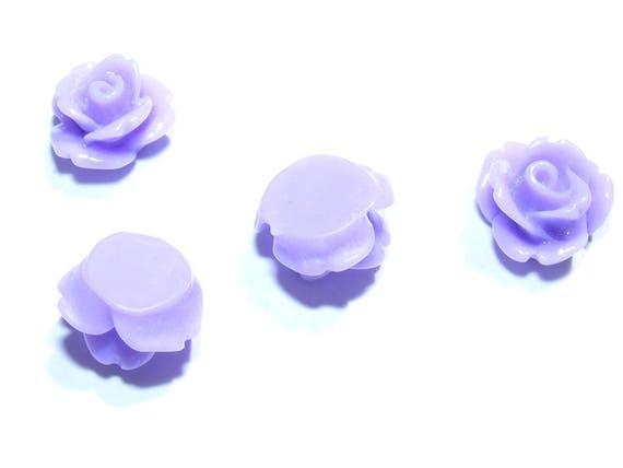 Cabochons flowers 10 mm purple x 1