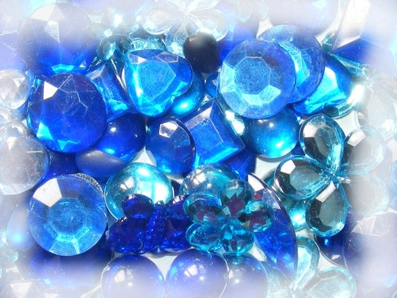Cabochons Acryliques à coller 5~20mm Mixed Color Bleu x10