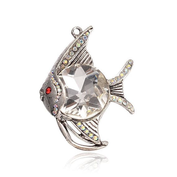 Pendant fish exotic 61 mm antique silver, rhinestone and Cabochon x 1