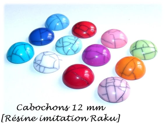 Cabochon to cabochon faux Raku, craft, cabochon earrings cabochon earrings, cabochons, primer DollyDoo lot, 12 mm