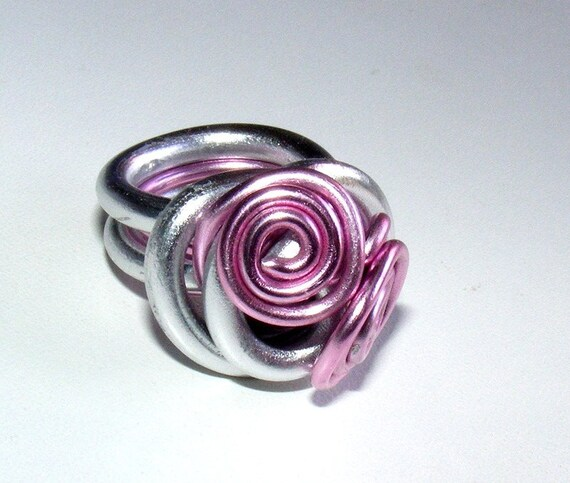 Ring Designer [Meringue] Silver Aluminum wire and pink size 54