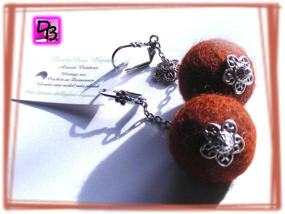 Boucles d'oreilles [boules de laine] couleurs au choix
