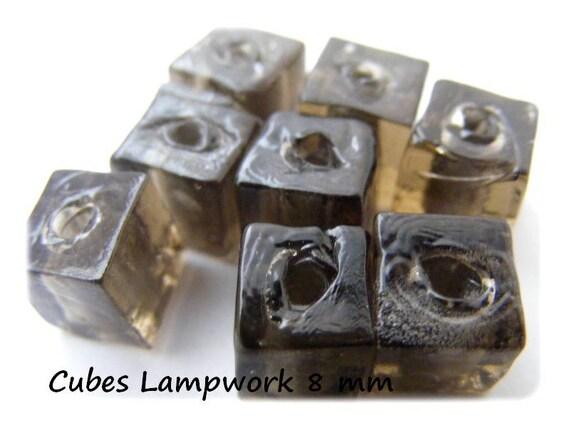 Lampwork beads 8mm [Black Diamond] x 4 cubes