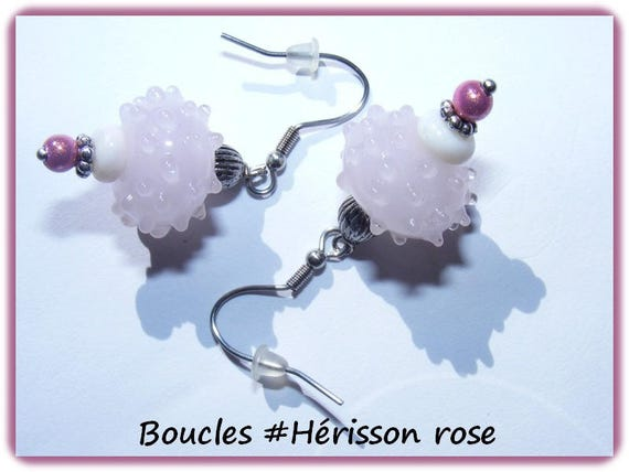 Earrings # dangling # lampwork # perles à picots # earrings unique # Hedgehog # pink # dollydoo # gift
