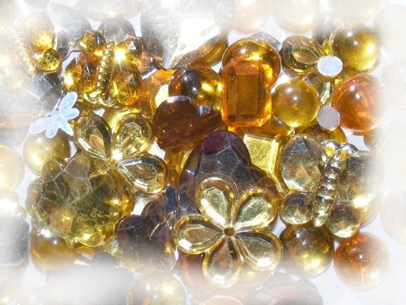 Cabochons acrylic stick 5 ~ 20mm Mixed Color gold x 10