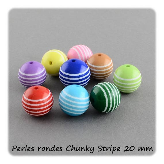 Round beads 20 mm x 1 [ChunkyStripe]