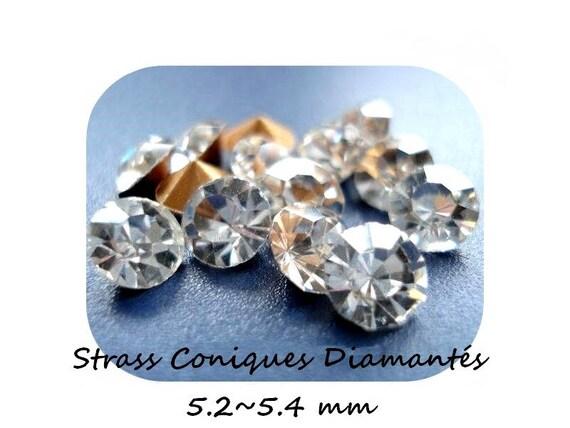 Swarovski rhinestones, rhinestone diamond rhinestone clear rhinestone 5.2 mm, rhinestone bottom tapered, paste Rhinestones, rhinestone crimp findings Dollydoo