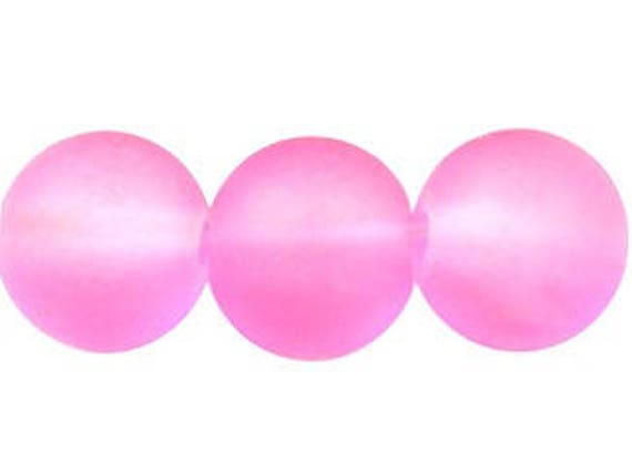 Round glass mat color 8 mm pink beads clear x 10