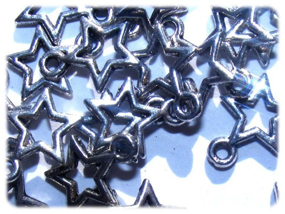SUPER set - Stars Astral 10 mm silver charms x 20