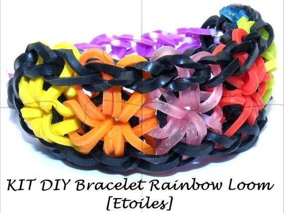 "Kit child ""DIY"" black/orange/Burgundy/pink elastic bracelet model [star]"