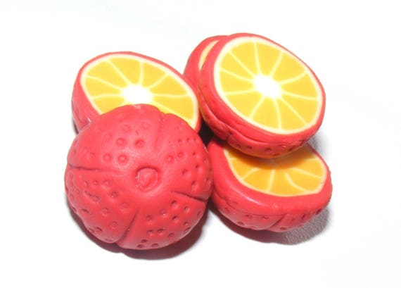 Fruit Fimo fruit polymer bead, Pearl bead blood orange polymer clay, fruit, blood orange charm, cut, fruit charm dollydoo jewelry