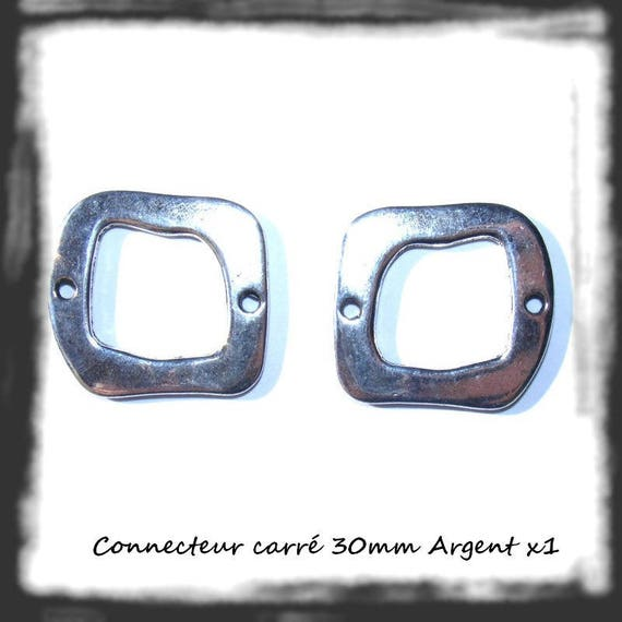 30mm silver square connector bead x 1