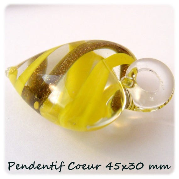 45x30mm [yellow 3D heart] x 1 glass pendant