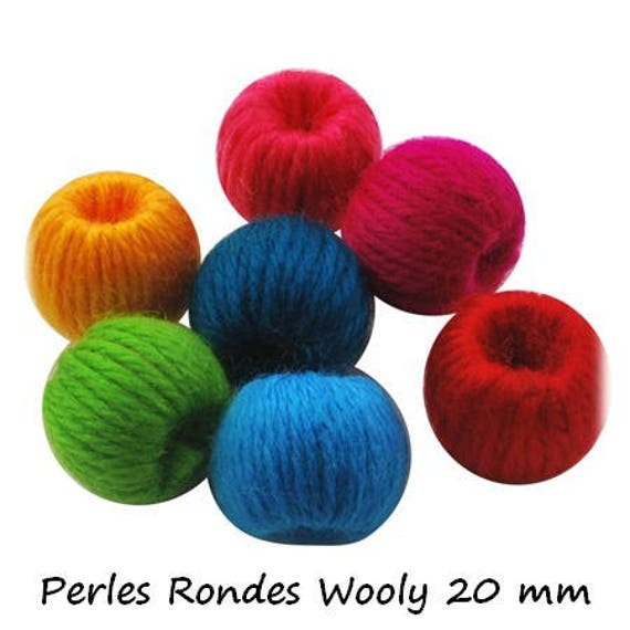 Round wooden beads and wool 20 mm [Wooly] multicolor x 1