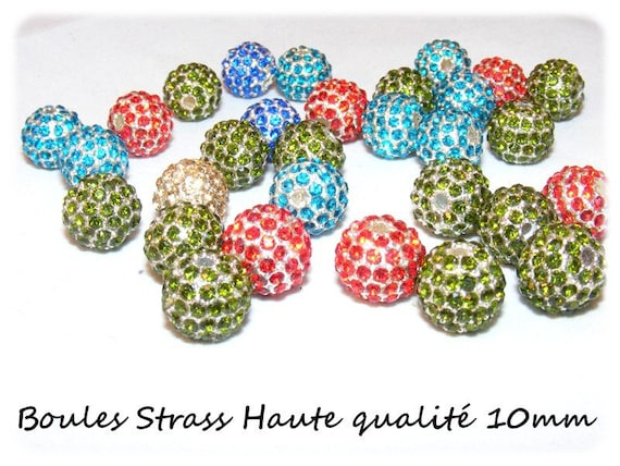 10 mm Metal beads & rhinestone [Aquamarine] x 1
