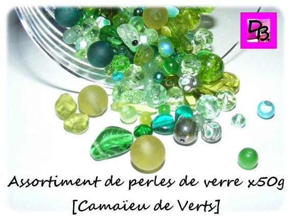 50g de perles de verre [camaïeu de verts]