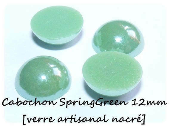 [SpringGreen] 12 mm cabochon handmade glass Pearl x 1