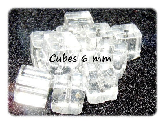 Pearls of Bohemian crystal [Crystal] 6 x 6mm CUBE shape
