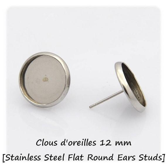Boucles d'oreilles Clous à supports de cabochon de 10mm en Acier inoxydable x2
