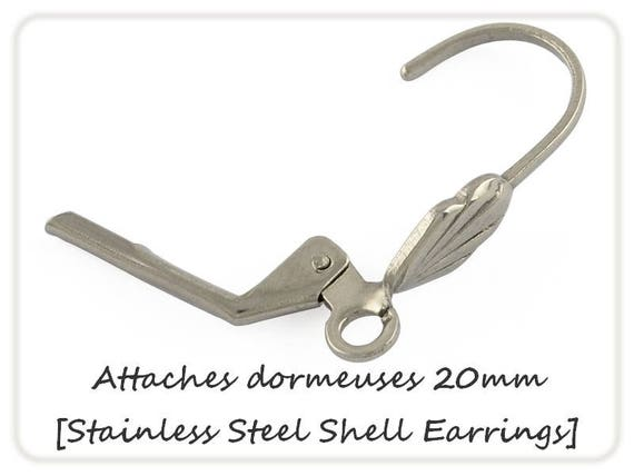 Earrings sleepers shells 20mm x 2 steel [Stainless Steel Shell Earrings.