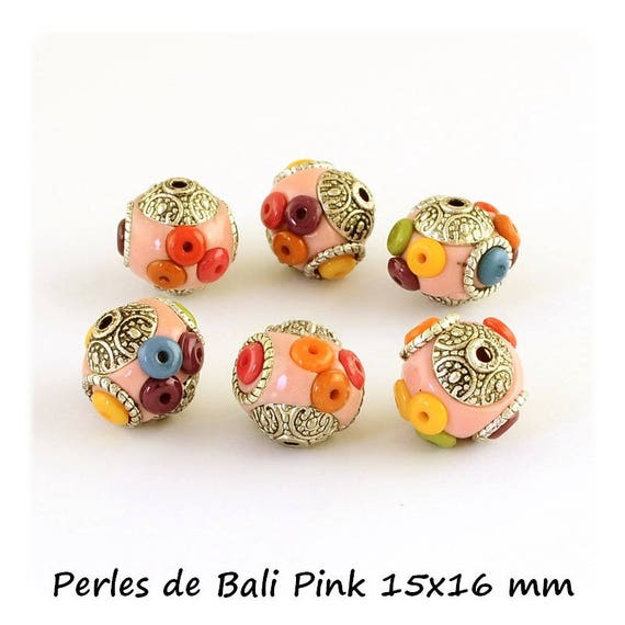 Perle artisanale fimo, perle de bali, perle en polymère, perle 14 mm, perle fimo, perle indonésienne, perle unique, perle rose, dollydoo