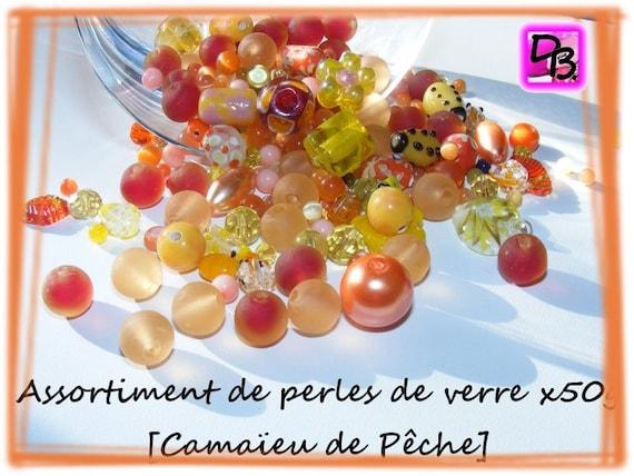 50g de perles de verre [camaïeu oranges et jaunes]