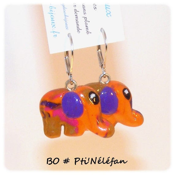 Designer earrings [Pti'Nelefan] - Orange - Purple