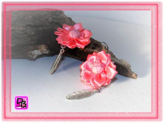 Boucles d'oreilles [Fleurs rose saumon]