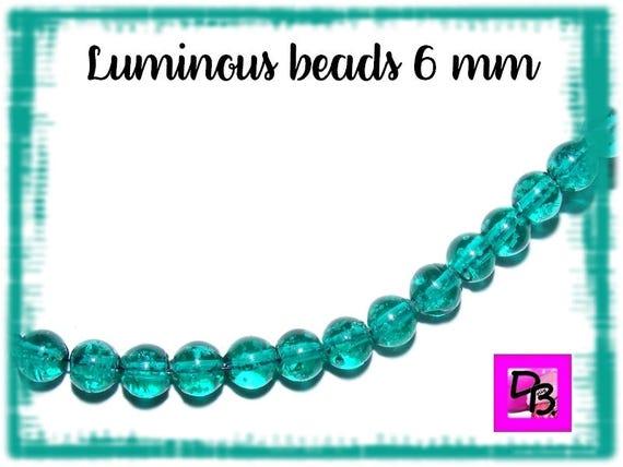 10 Perles Luminous [DarkTurquoise] 6mm