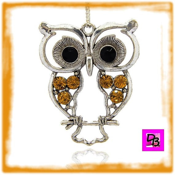 Pendant # # # large # rhinestone OWL charm chain # 55 mm # metal # antique silver # style # Topaz color combines # lucky #cadeau