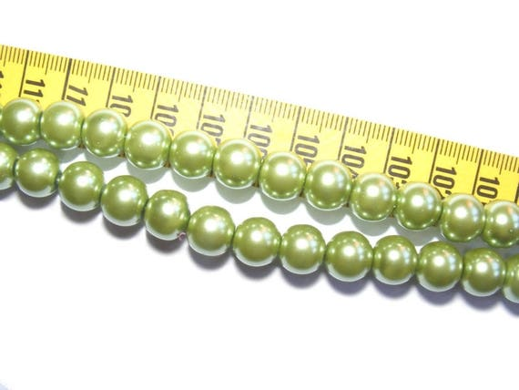 Round Pearly 6 mm Olivine x 25
