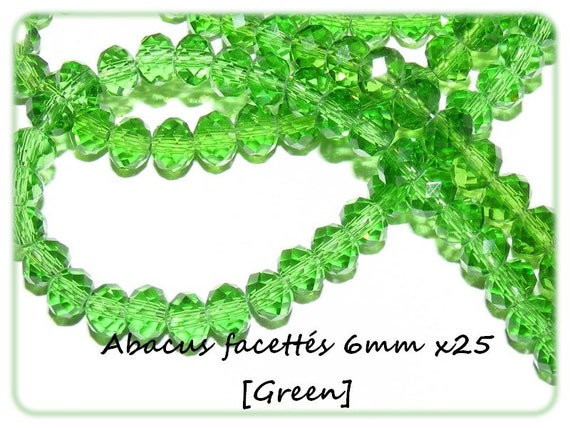 25 Abacus faceted 6x4mm [Green]