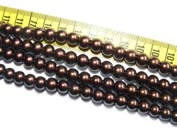10 Rondes Nacrées 8mm Chocolate