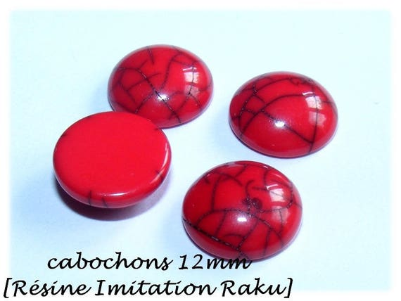 Cabochon for earrings, cabochon, cabochon faux Raku cabochon stick earrings, red cabochon, primer DollyDoo, 12 mm