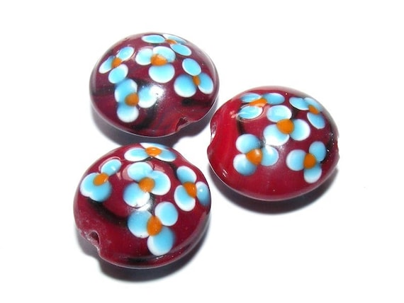 # 20 mm lampwork bead # shape lens # bead two-tone # color blue/bordeaux # handmade lampwork beads # flat round # DIY # dollydoo