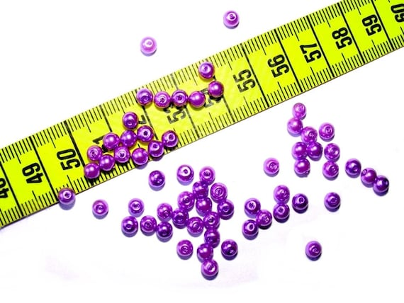 4mm lilac Pearl round beads x 50
