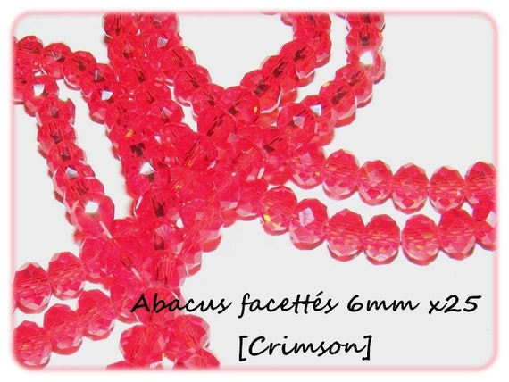 Abacus faceted 6x4mm [Crimson] x 25