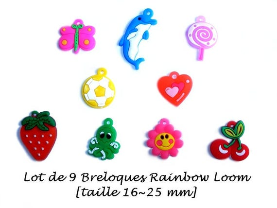 Set of 9 charms for stretch bracelets [Rainbow Loom.