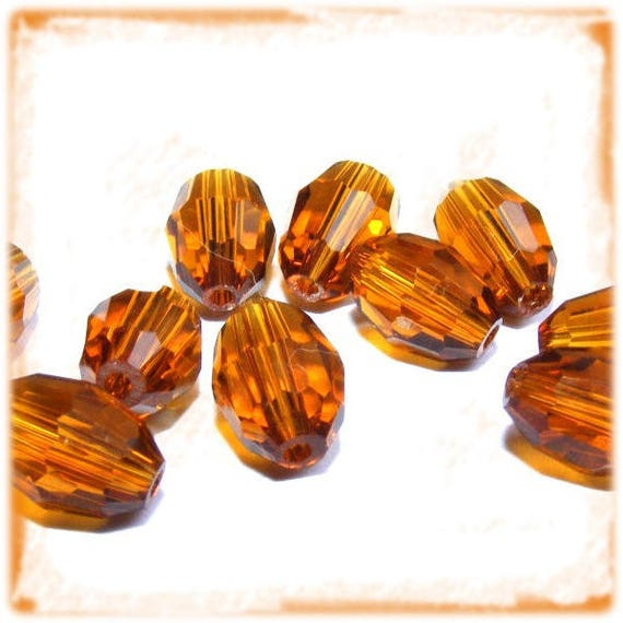 Czech faceted Dark Topaz 10 x 9mm rice Grain Crystal beads