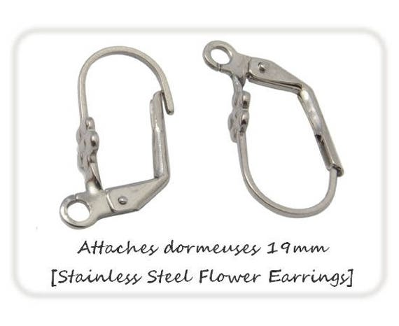 1 paire de dormeuses fleurs 19mm [Stainless Steel Flower Earrings] Acier