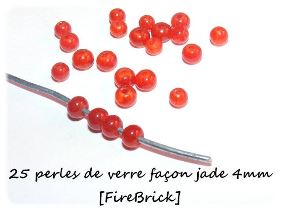 Imitation Jade 4mm [FireBrick] x 25 glass beads
