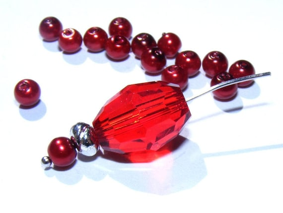 Burgundy 50 x 4mm Pearl round beads
