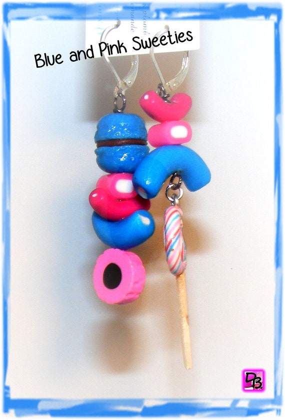 Boucles d'oreilles [Blue and Pink Sweeties]