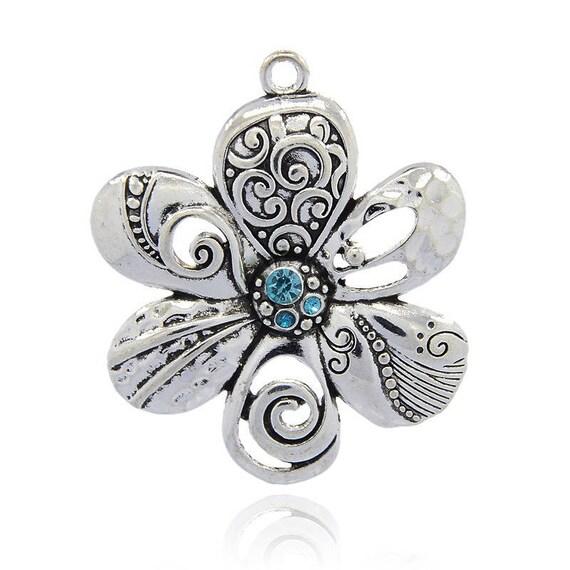 Large flower 56 mm antique silver - Blue Zircon 1 x pendant