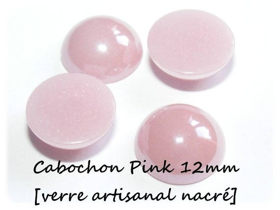 [Pink] 12 mm cabochon handmade glass Pearl x 1