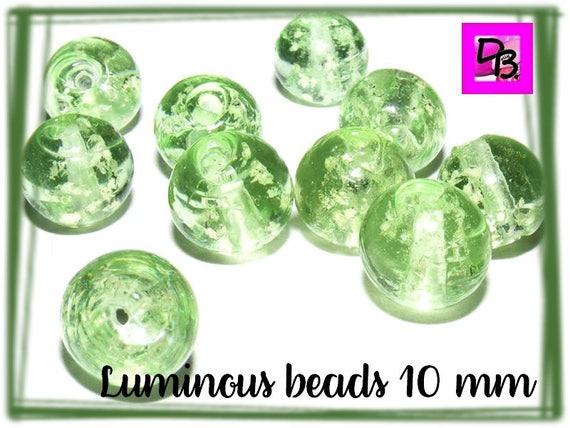 10 perles luminous [SpringGreen] 10mm