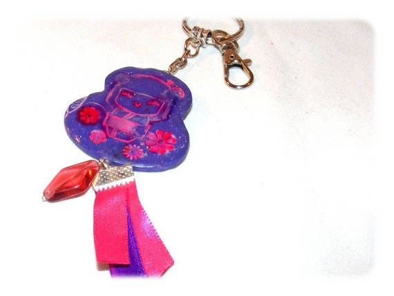 Bag charm fimo kokeshi Keychain kokeshi uniquely DollyDoo, accessory bag, handmade, MOM gift, purple, polymer clay